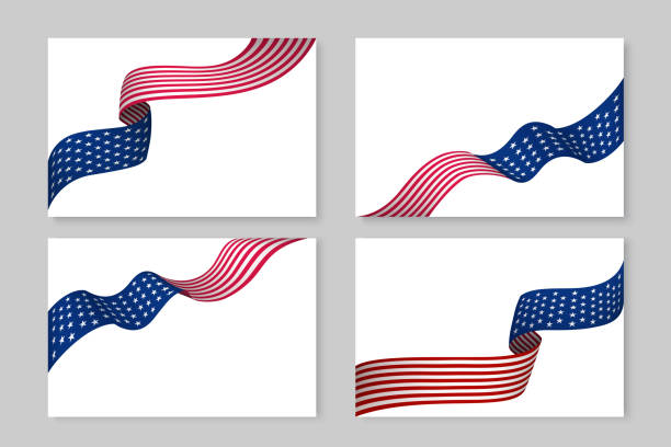 set of flying ribbons in national usa flag color - may day stock illustrations, clip art, cartoons, & icons