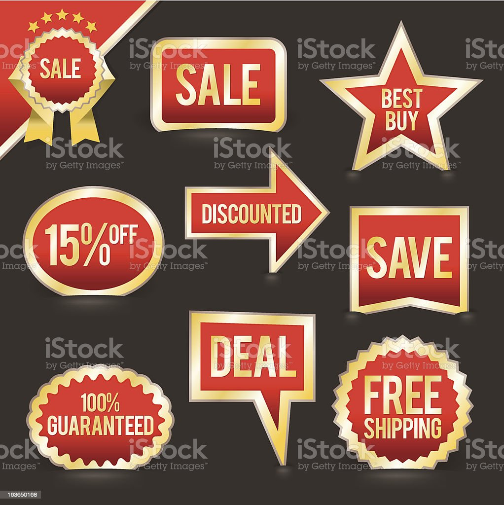 Set of Foiled Sale Badges and Labels royalty-free set of foiled sale badges and labels stock vector art & more images of agreement