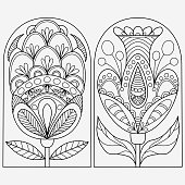 Set of folk style flowers drawn for coloring on a white background, vector, isolated, drawn vector
