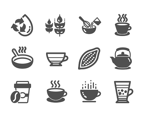 Set of Food and drink icons, such as Cocoa nut, Takeaway coffee, Tea cup. Vector