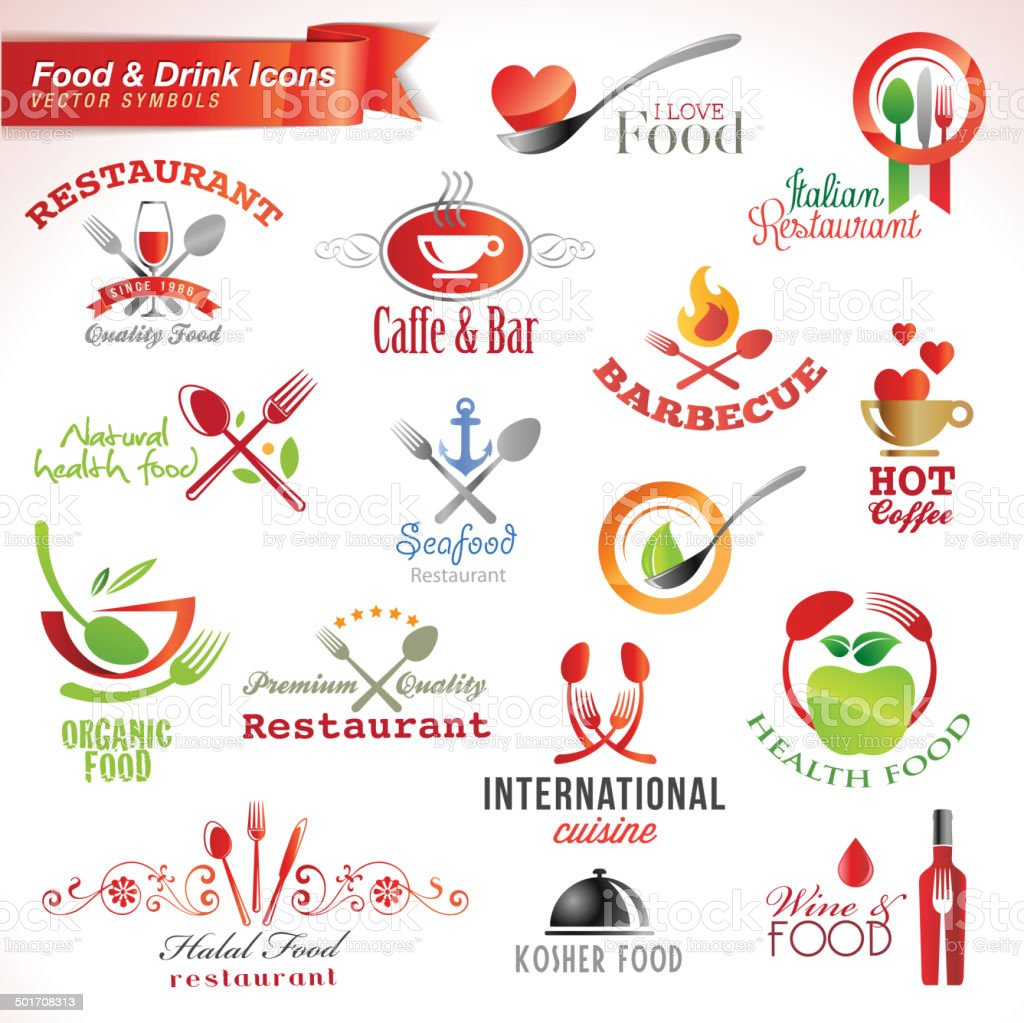 Set of food and drink vector icons vector art illustration