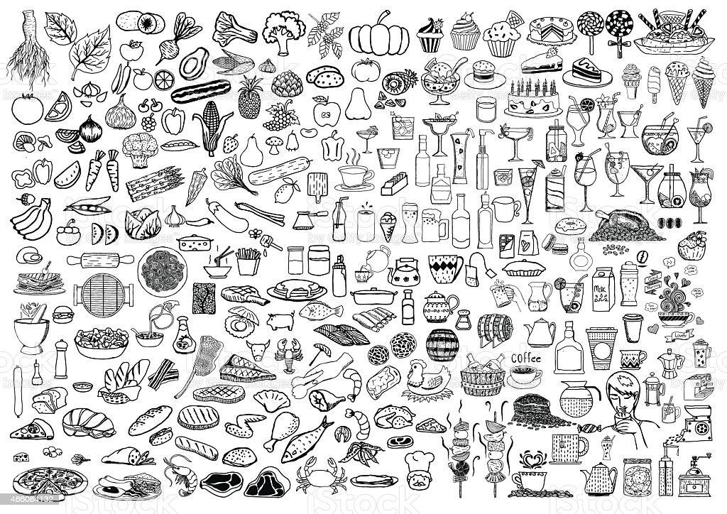 Conjunto de alimentos y bebidas Garabato sobre fondo blanco. - ilustración de arte vectorial