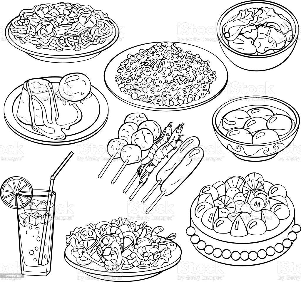 Set of food and drinks hand drawn illustration vector art illustration
