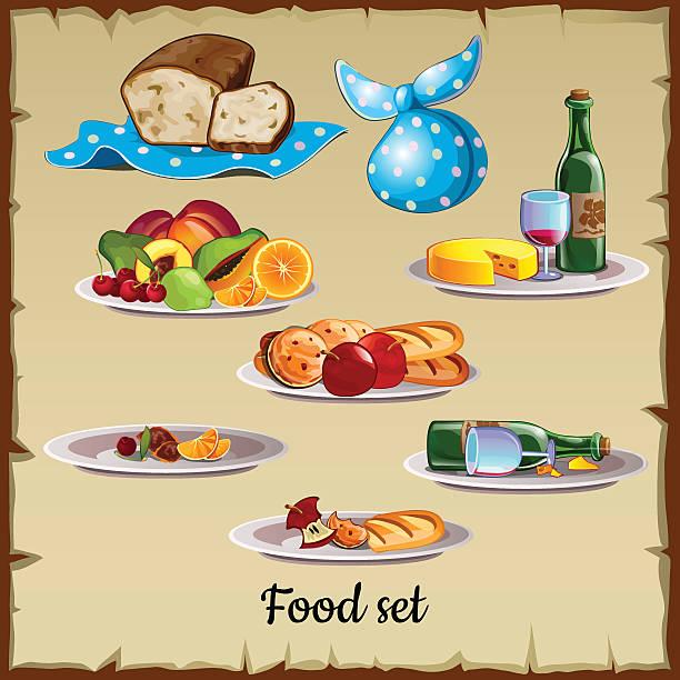 ilustraciones, imágenes clip art, dibujos animados e iconos de stock de conjunto de alimentos y residuos - leftovers