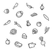 Set of food hand drawn doodles.