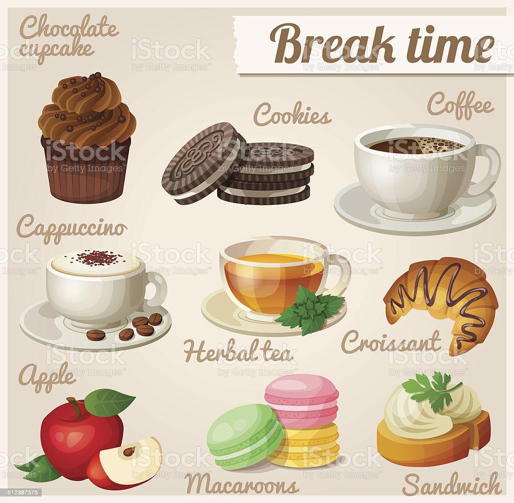 Set of food icons. Break time. vector art illustration