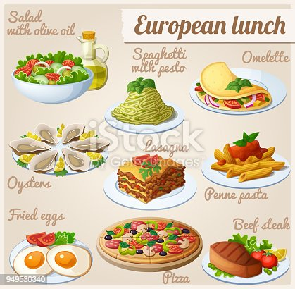 Fresh salad with olive oil, spaghetti with pesto, omelette with vegetables, oysters, lasagna, penne pasta with tomato sauce, fried eggs, pizza, beef steak