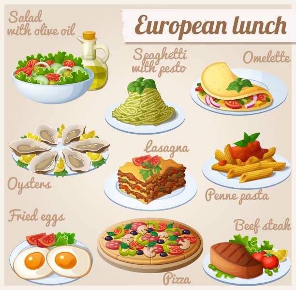 ilustraciones, imágenes clip art, dibujos animados e iconos de stock de conjunto de iconos de comida. comida europea - plate