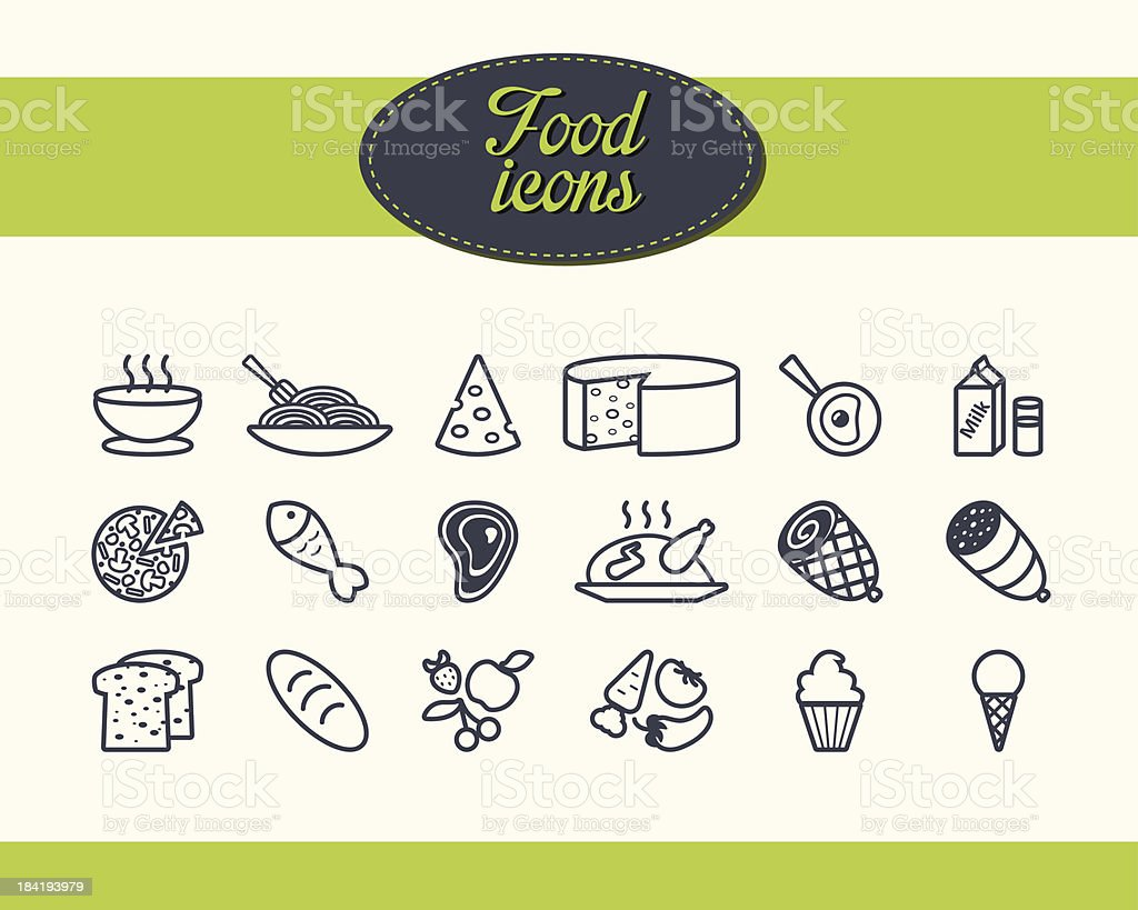 Set of food icons - Illustration vector art illustration