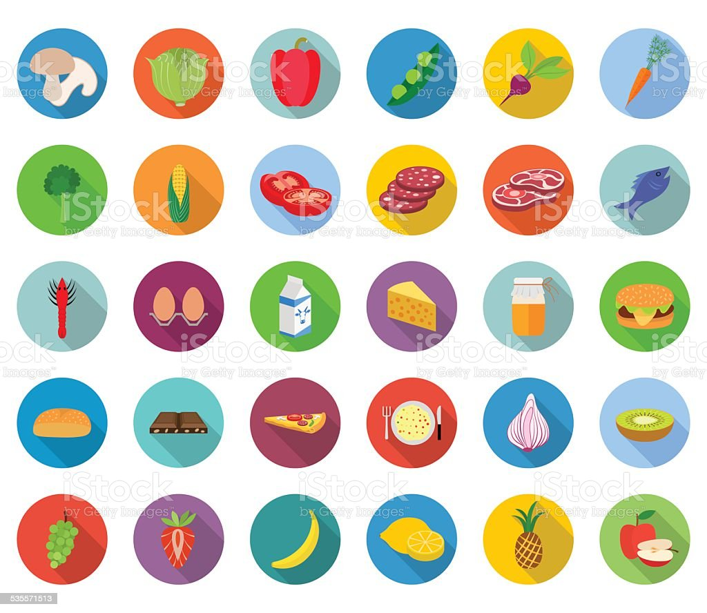 Set of food icons in flat design with long shadows vector art illustration