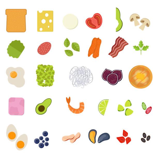 set von food-ikonen im flachen stil. obst, gemüse, fleisch, fisch, brot, milch, süßigkeiten.  zutaten sammlung. vektorabbildung - lachskuchen stock-grafiken, -clipart, -cartoons und -symbole