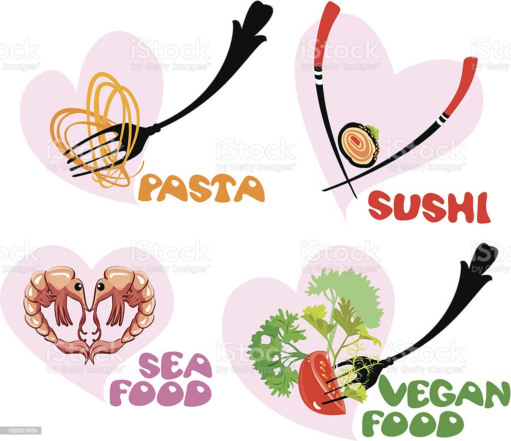Set of Food Icons in hearts shapes royalty-free stock vector art