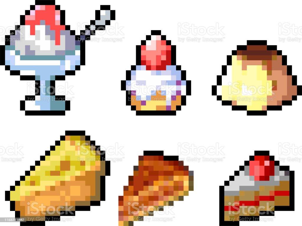 Ensemble Dicônes De Nourriture Dans Le Modèle De Pixel