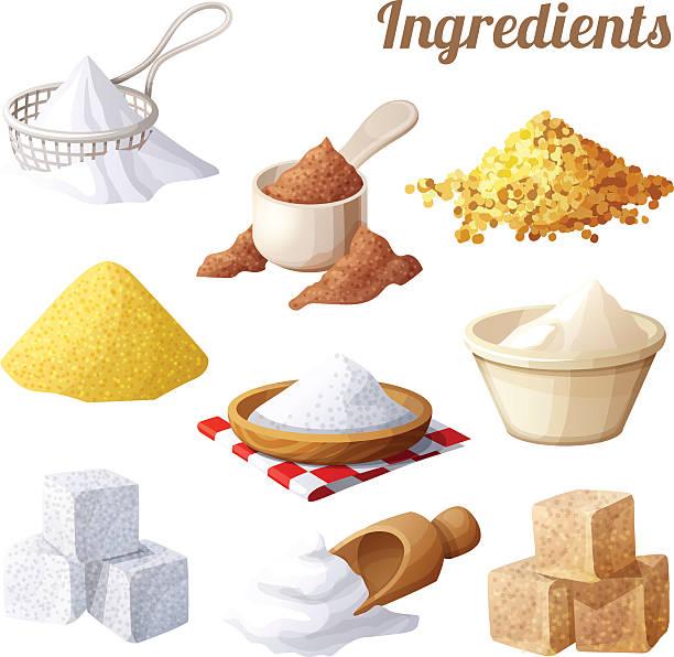 satz von essen-symbole. zutaten zum kochen - mehl stock-grafiken, -clipart, -cartoons und -symbole