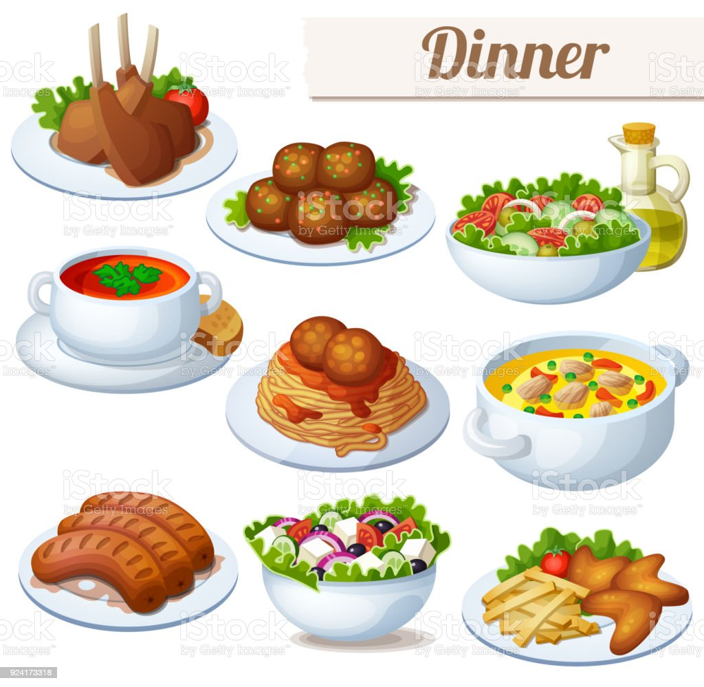 Set of food icons isolated on white background. Dinner - arte vettoriale royalty-free di Agnello - Animale