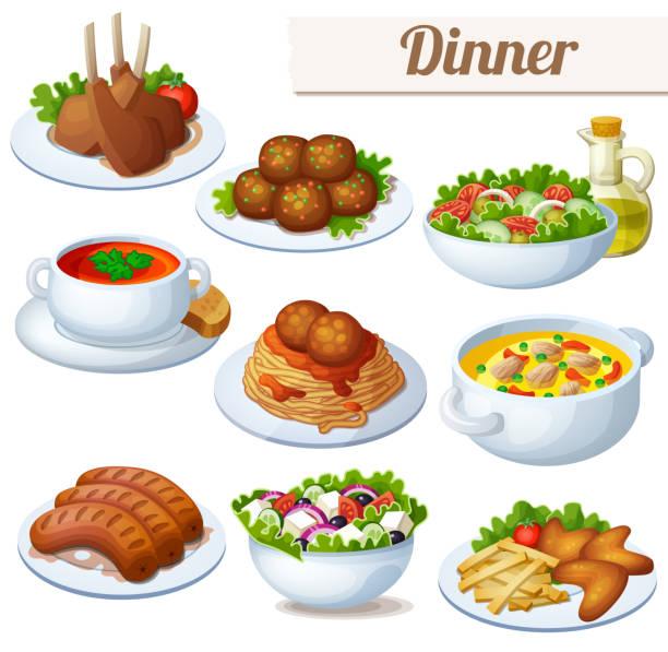 set von essen icons isoliert auf weißem hintergrund. abendessen - spaghetti stock-grafiken, -clipart, -cartoons und -symbole