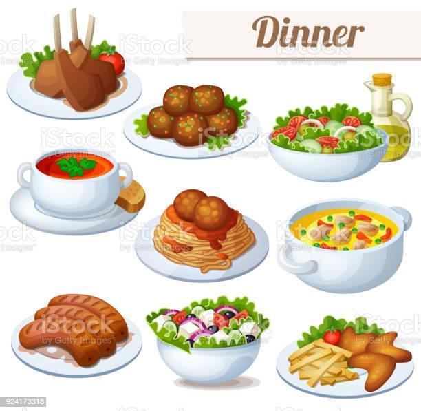 Set Of Food Icons Isolated On White Background Dinner - Immagini vettoriali stock e altre immagini di Agnello - Animale