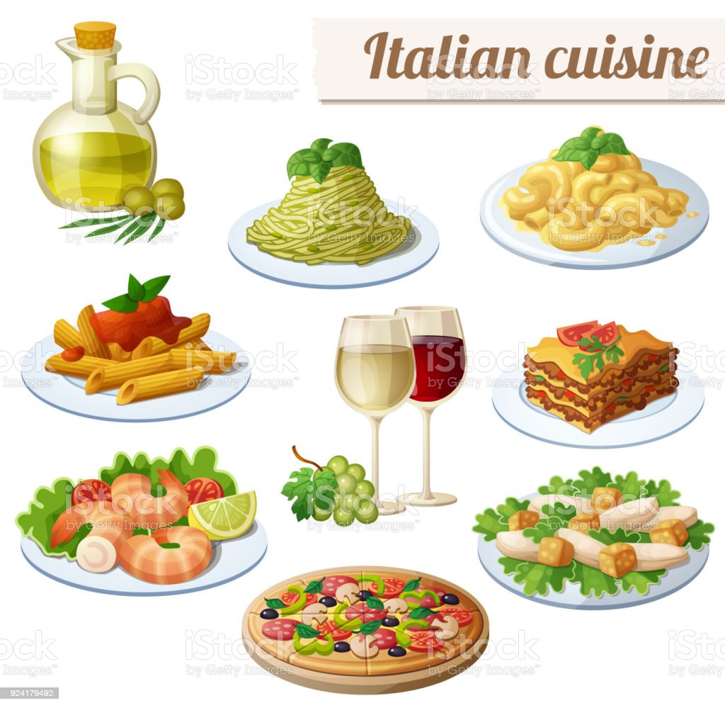 Set of food icons isolated on white background. Italian cuisine....