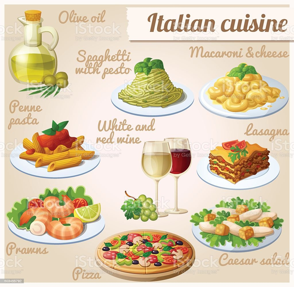Set of food icons. Italian cuisine. Spaghetti with pesto, lasagna vector art illustration
