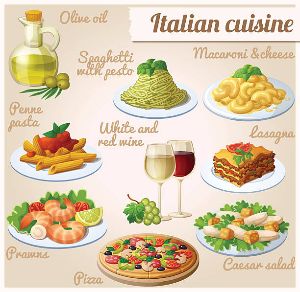 Set of food icons. Italian cuisine. Spaghetti with pesto, lasagna Set of food icons. Italian cuisine. Spaghetti with pesto, lasagna, penne pasta with tomato sauce, pizza, olive oil, macaroni and cheese, red and white wine in glasses, prawns, caesar salad penne stock illustrations