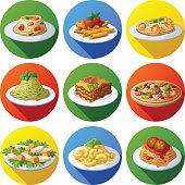 Set of food icons. Italian cuisine. Spaghetti with pesto, tomato cherry, basil, prawns, meatballs, lasagna, penne pasta with tomato sauce, pizza,  macaroni and cheese, caesar salad