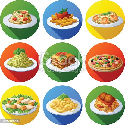 Set of food icons. Italian cuisine. Spaghetti with pesto, tomato cherry, basil, prawns, meatballs, lasagna, penne pasta with tomato sauce, pizza,  macaroni and cheese, caesar salad