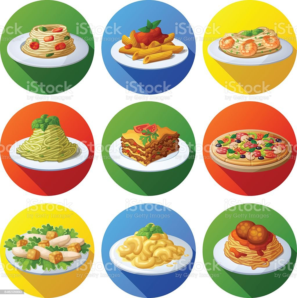 Set of food icons. Italian cuisine vector art illustration