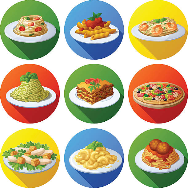 illustrazioni stock, clip art, cartoni animati e icone di tendenza di set of food icons. italian cuisine - pasta