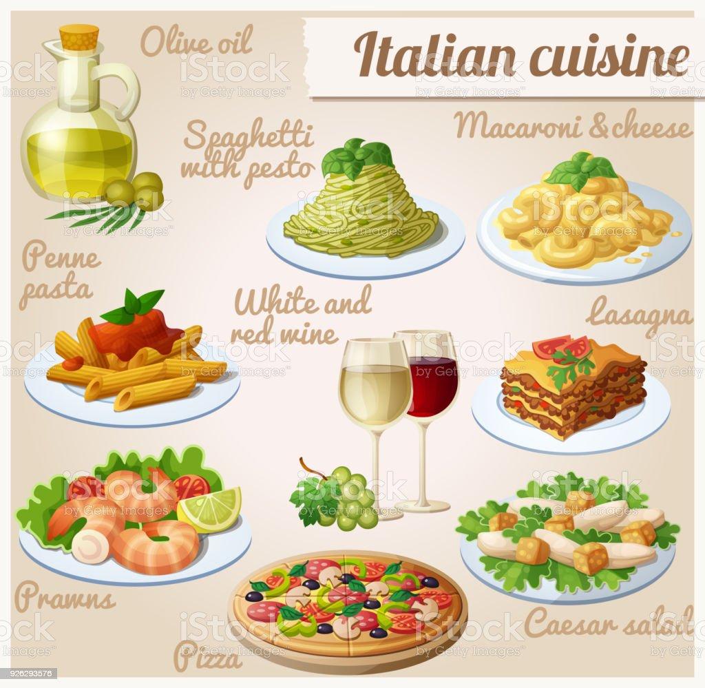 Set Von Essen Icons Italienische Küche Stock Vektor Art und mehr ...