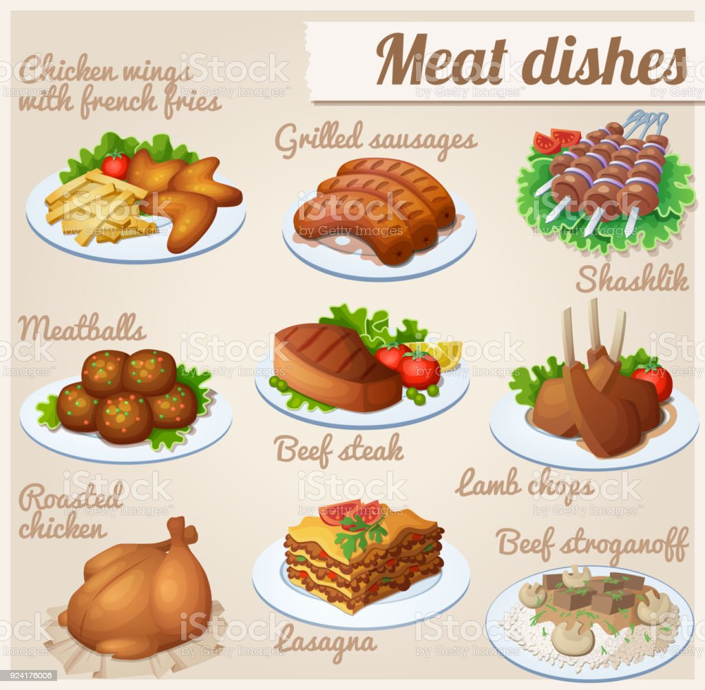 Set of food icons. Meat dishes. vector art illustration