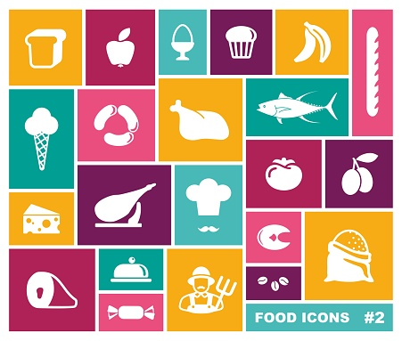 Set of food icons on rectangles. Vector illustration
