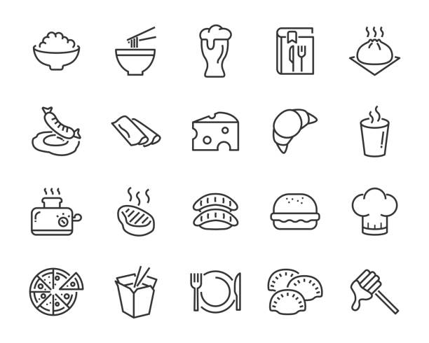 set of food icons ,such as bread, rice, meat, drink set of food icons ,such as bread, rice, meat, drink bread silhouettes stock illustrations