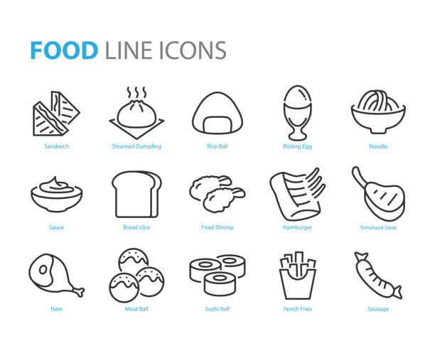 satz von lebensmitteln ikonen, wie fleischball, sandwich, ei - lachskuchen stock-grafiken, -clipart, -cartoons und -symbole