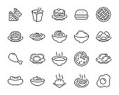 istock set of food icons, such as pizza, noodle, rice, pie, steak, fried chicken, sushi, dumpling 1147560405