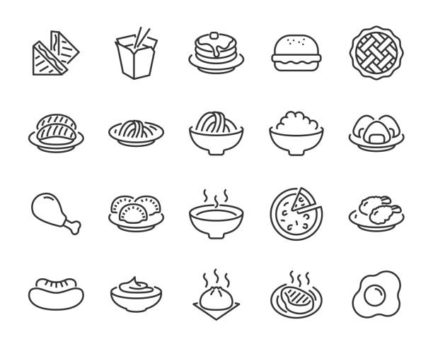 set of food icons, such as pizza, noodle, rice, pie, steak, fried chicken, sushi, dumpling - sushi stock illustrations