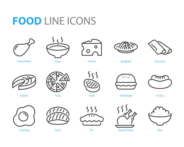 set of food icons, such as restaurant, menu, sushi, rice, soup, noodle - sushi stock illustrations