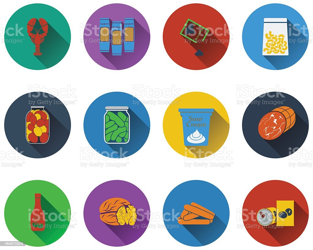 Set of food icons vector art illustration
