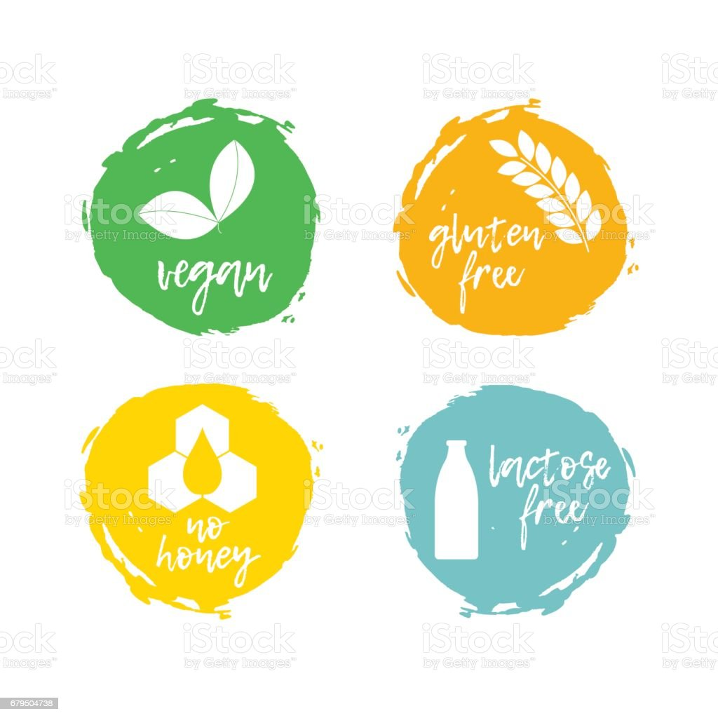 Set of food labels - allergens. Food intolerance symbols collection. vector art illustration