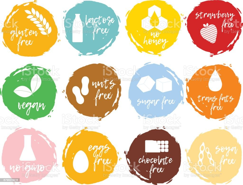 Set of food labels - allergens, GMO free products. vector art illustration