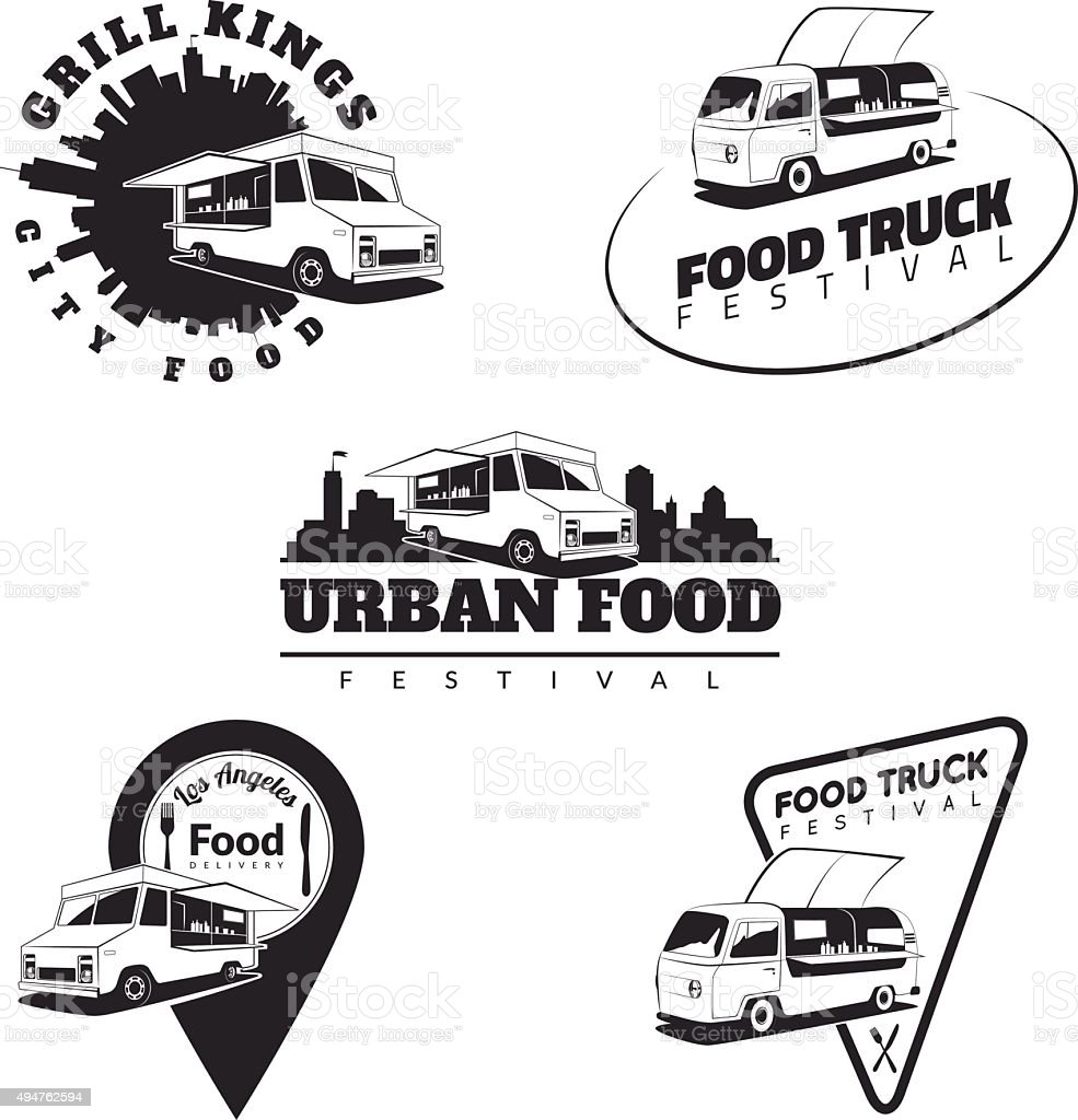 Set of food truck emblems, icons and badges. vector art illustration