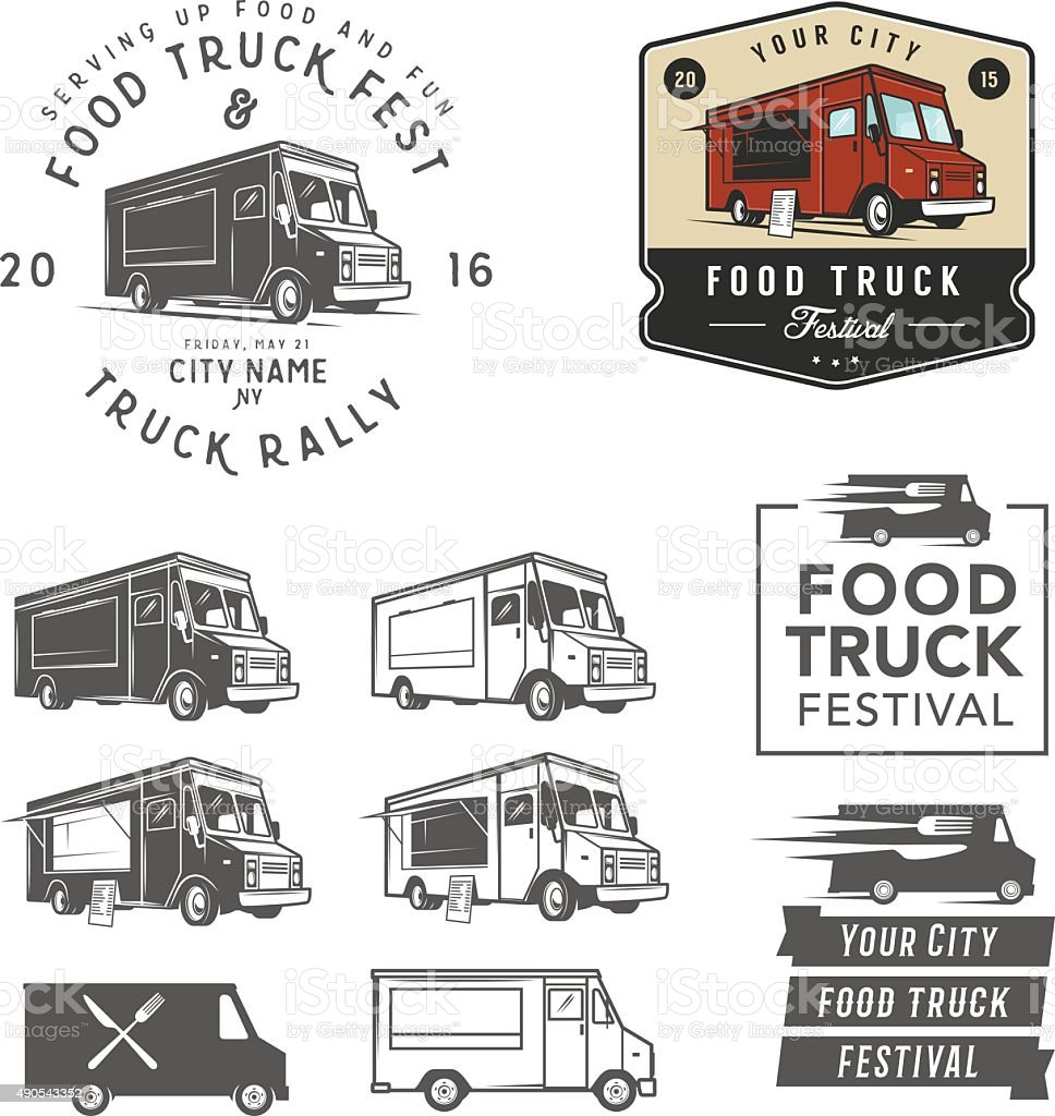 Set of food truck festival emblems, badges and design elements vector art illustration