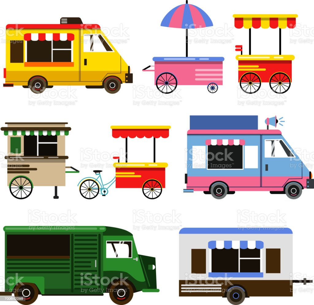 set of food trucks and bicycles for commercial use vector