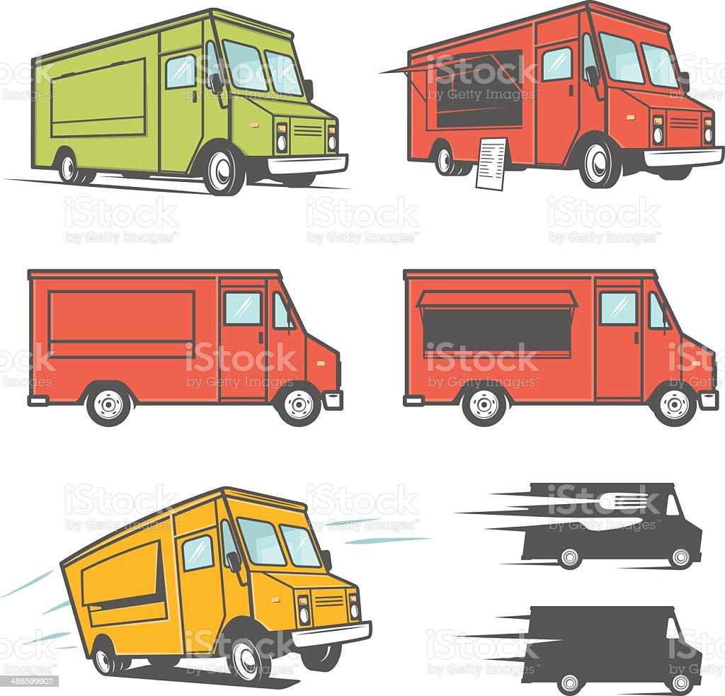 Set of food trucks from various angles vector art illustration