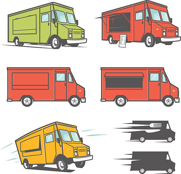 satz von imbisswagen aus verschiedenen blickwinkeln - imbisswagen stock-grafiken, -clipart, -cartoons und -symbole