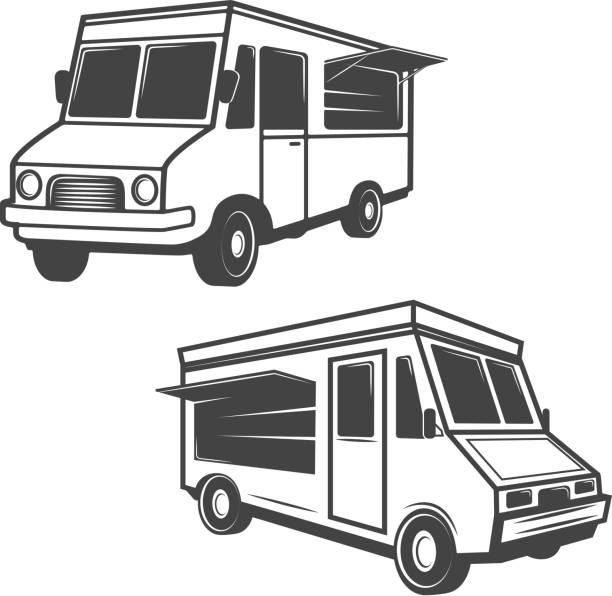 satz von imbisswagen isoliert auf weißem hintergrund. design-elemente für label, emblem, zeichen, logos, markenzeichen. - imbisswagen stock-grafiken, -clipart, -cartoons und -symbole
