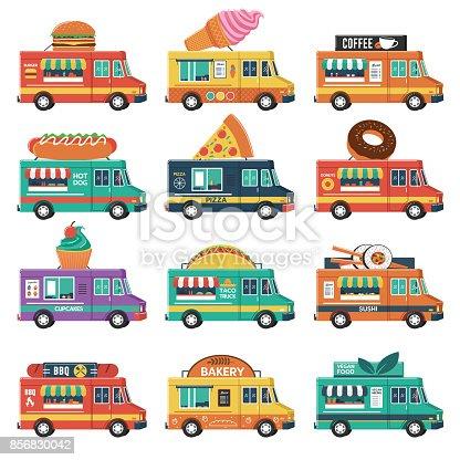 Set of food trucks. Burger, ice cream, coffee, cakes, pizza, sushi, taco, donuts, vegan, etc