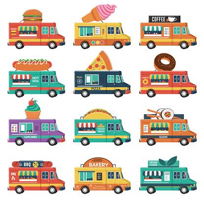 Set of Food Trucks