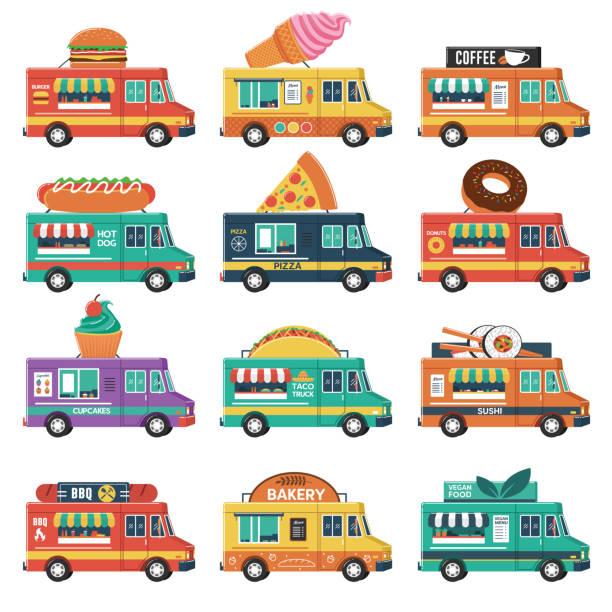 satz von imbisswagen - imbisswagen stock-grafiken, -clipart, -cartoons und -symbole