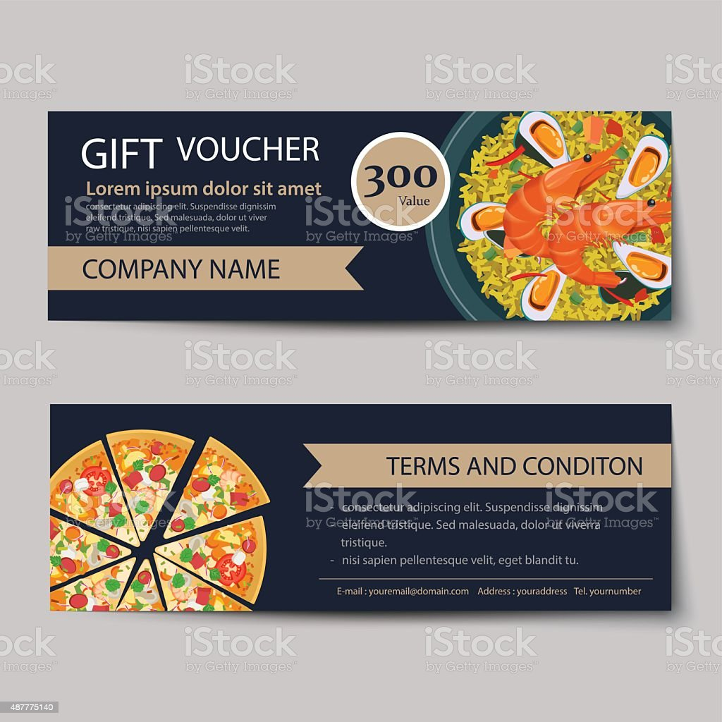 Set Of Food Voucher Discount Template Design Royalty Free Stock Vector Art