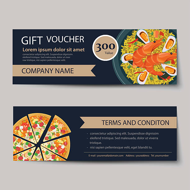 stockillustraties, clipart, cartoons en iconen met set of food voucher discount template design - paella